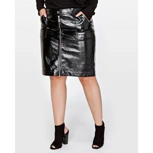 Love & Legend Black Faux Leather Zipper Skirt 14